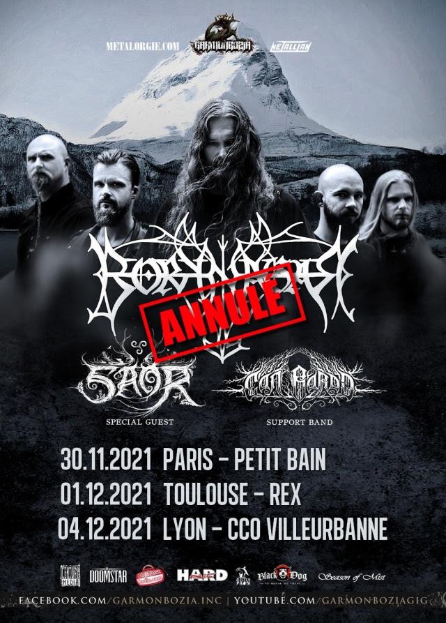 Affiche de la tournée de Borknagar annulée